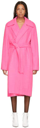 Helmut Lang Pink Alpaca and Wool Coat