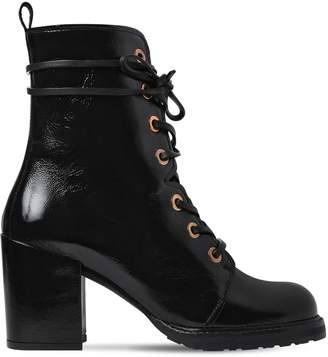Stuart Weitzman 60mm Climbing Patent Leather Ankle Boots