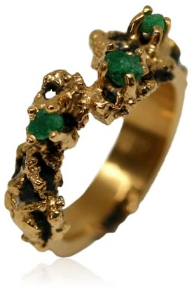 Karolina Bik Jewellery Out Of The Sea Ring With Raw Emeralds