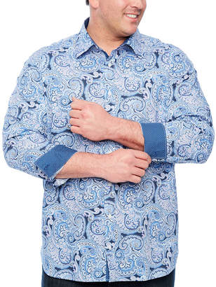 SOCIETY OF THREADS Society Of Threads Long Sleeve Paisley Button-Front Shirt-Big and Tall