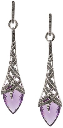 Stephen Webster 18kt white gold, amethyst and diamond drop earrings