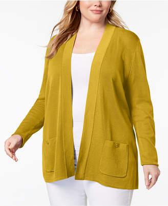 Anne Klein Plus Size Open-Front Long Cardigan