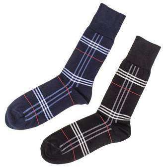 Black Set of Two Egyptian Cotton Tartan Socks