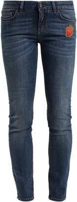 Dolce & Gabbana Heart-embroidered mid-rise skinny jeans