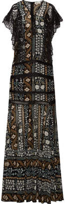 Veronica Beard Elly Lace-trimmed Printed Georgette Maxi Dress - Black
