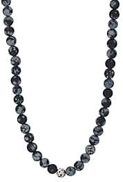Barneys New York Men's Snowflake Obsedian Beaded Necklace - Black