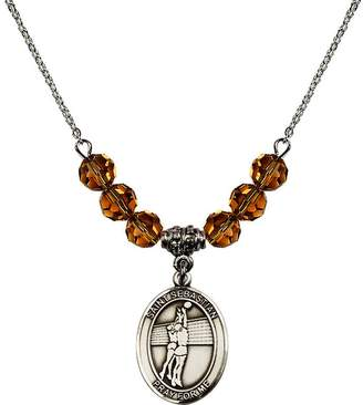 Sebastian Bonyak Jewelry Saint Necklace Collection 18-Inch Rhodium Plated Necklace with 6mm Yellow November Birth Month Stone Beads and Saint Volleyball Charm