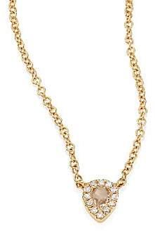 Ef Collection Women's Mini Teardrop Diamond, White Topaz & 14K Yellow Gold Choker