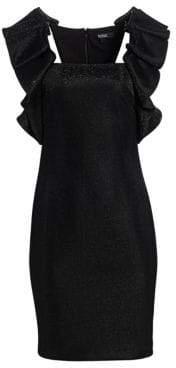 Badgley Mischka Sleeveless Metallic High Shoulder Sheath Dress