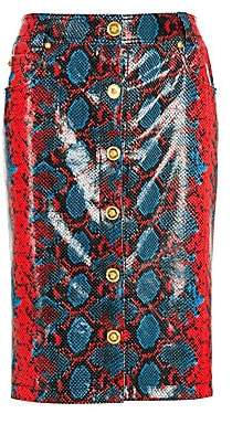 bf05963fe Versace Women's Python Print Leather Button Front Midi Skirt