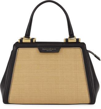 Donna Karan Medium Straw and Leather Satchel Bag