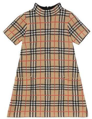 Burberry Girl's Denise Jacquard Check Turtleneck Dress, Size 3-14