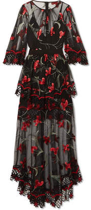 Alice McCall Marigold Guipure Lace-trimmed Embroidered Tulle Maxi Dress