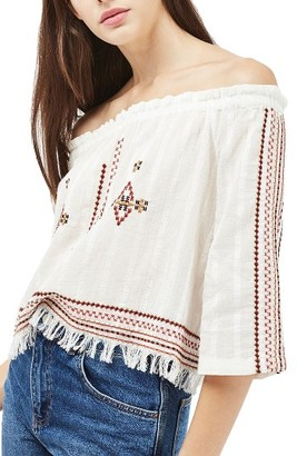 Women's Topshop Bardot Embroidered Top $65 thestylecure.com