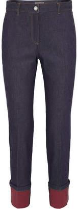 Bottega Veneta Leather-trimmed High-rise Straight-leg Jeans - Indigo