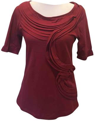 Anthropologie Burgundy Cotton Top for Women