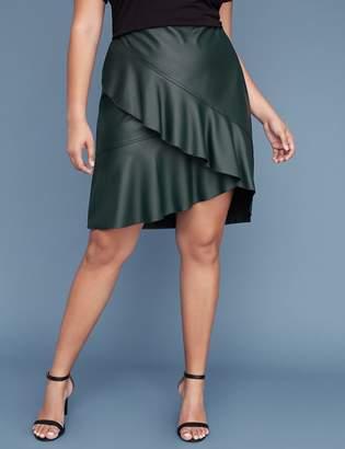 Lane Bryant Faux Leather Ruffle Skirt