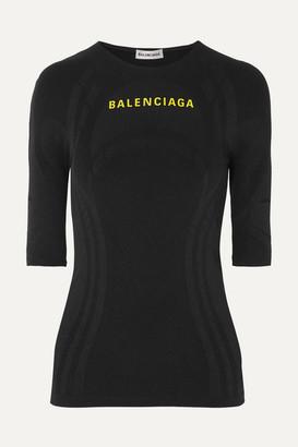 Balenciaga Printed Textured Stretch-jersey Top - Black