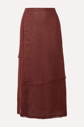 STAUD Carmela Frayed Linen Midi Skirt - Brown