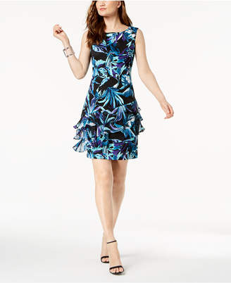 Connected Floral-Print Ruffled A-Line Dress