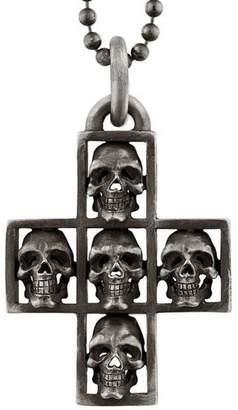Multi-Skull Cross Pendant Necklace
