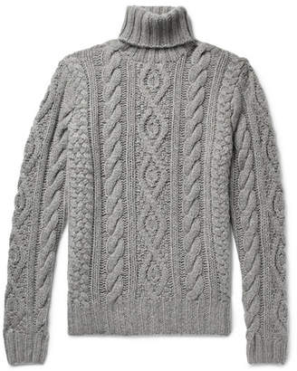 Ralph Lauren Purple Label Cable-Knit Cashmere And Mohair-Blend Rollneck Sweater