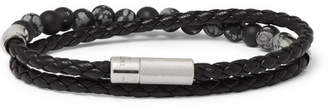Havana Braided Leather, Silver And Bead Bracelet