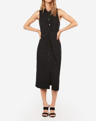 Express Button Front Twist Midi Shirt Dress