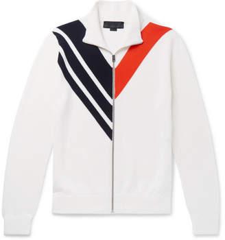 Stella McCartney Chevron Virgin Wool Zip-Up Sweater
