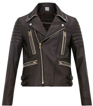 Paul Smith Moto Piped Grained Leather Biker Jacket - Mens - Black