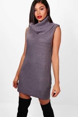 boohoo Heidi Sleeveless Knitted Roll Neck Dress