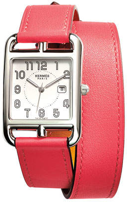 Hermes Cape Cod GM Stainless Steel Watch with Azalea Pink Leather Strap