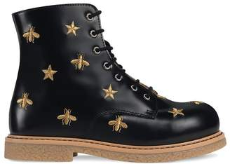 Gucci Kids Children's bees and stars lace-up boot