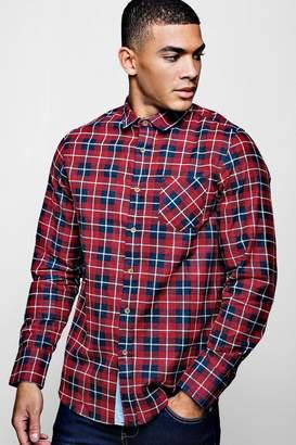 boohoo Brushed Check Long Sleeve Shirt