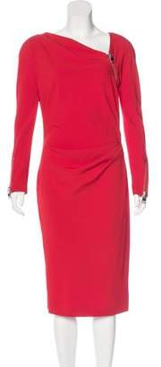 Tom Ford Long Sleeve Zip-Accented Dress