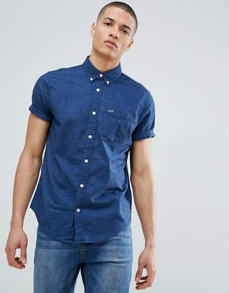 Hollister short sleeve oxford shirt slim fit button down in navy