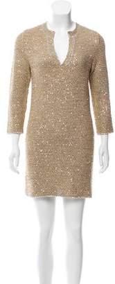 Oscar de la Renta Long Sleeve Sequined Dress