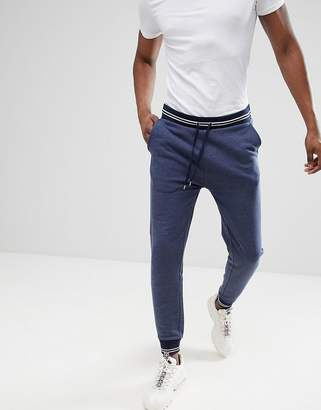 Asos DESIGN Skinny Joggers In Denim Marl With Tipped Ribs