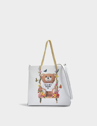 Moschino Teddy Shoulder Bag in Pink Calfskin