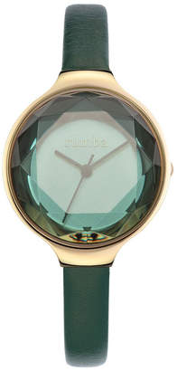 RumbaTime Orchard Gem Genuine Evergreen Leather Strap Watch