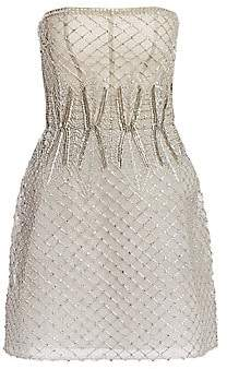 Monique Lhuillier Women's Embroidered Tulle Strapless Mini Dress