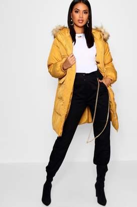 boohoo Longline Faux Fur Trim Hood Puffer Coat