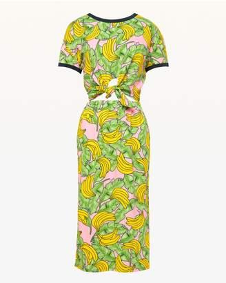 Jxjc Banana Print Tie Front Midi Dress