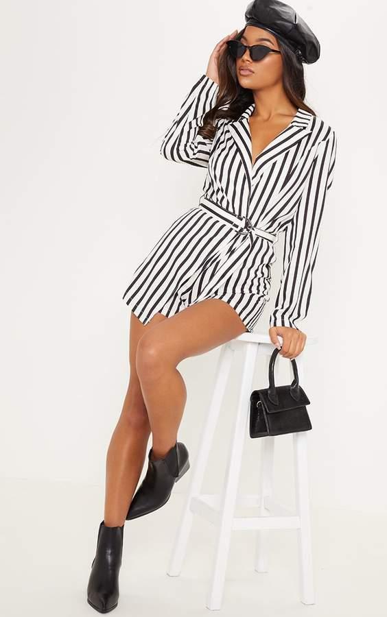 Monochrome Stripe Wrap Over Blazer Playsuit
