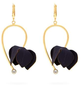 Marni Flora Fabric And Strass Earrings - Womens - Navy