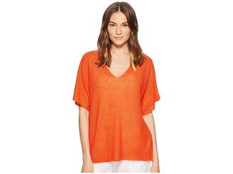 Eileen Fisher Deep V-Neck Top Women's Short Sleeve Pullover