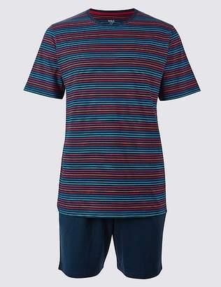 Marks and Spencer Pure Cotton Striped Pyjama Shorts Set
