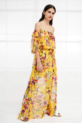 French Connenction Linosa Crinkle Off The Shoulder Maxi Dress