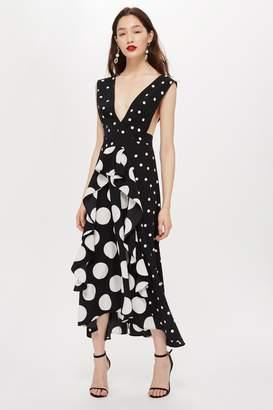 Topshop Monochrome Spot Pinafore Dress