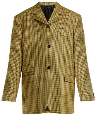 Raf Simons - Single Breasted Wool Tweed Blazer - Womens - Yellow